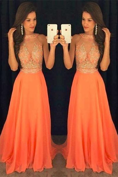 Charming Long Prom Dresses For Teens,Cheap Prom Dresses,Sparkly Orange Chiffon Prom Dresses,Halter Beading Prom Gowns,Women Dresses,Evening Dresses,Long Prom Dresses For Teens