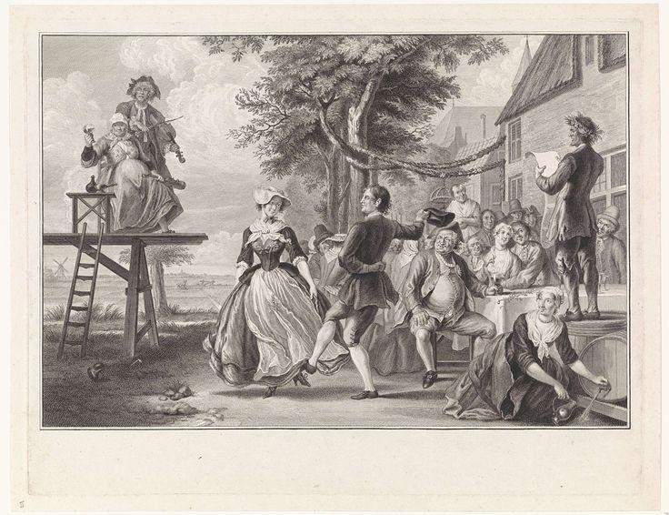 Pieter Tanjé | Bruiloft van Cloris en Roosje, Pieter Tanjé, Cornelis Troost, 1752 - 1761 | Cloris en Roosje dansen op hun bruiloft. Op de verhoging twee vioolspelers, van wie de vrouw het glas heft. Rechts de feestgangers en een man, die vanaf een ton een toespraak houdt. Scène uit het zangspel De bruiloft van Cloris en Roosje.