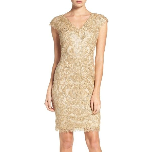 Women's Tadashi Shoji Corded Lace Tulle Sheath Dress ($348) ❤ liked on Polyvore featuring dresses, light gold, petite, beige cocktail dress, beige lace dress, lace sheath dress, lace tulle dress and tadashi shoji dresses