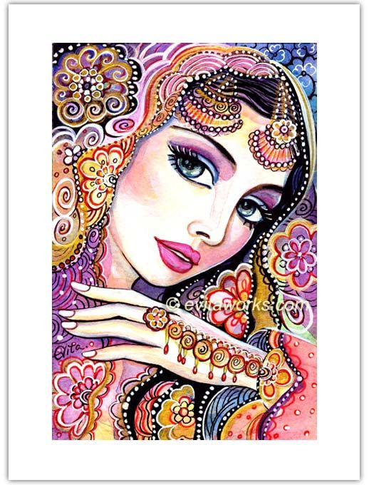 Indian Bride, Painting, Beautiful Indian Woman, Fashion Illustration, Indian Art, Bollywood, Beautiful India - Art Print 6x8. $10.00, via Etsy.