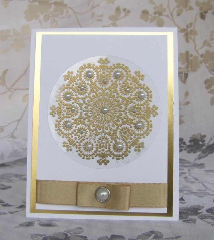 handmade card ... Moroccan Style .... white and gold with pearls ... mandala type design ... Stampin' Up!