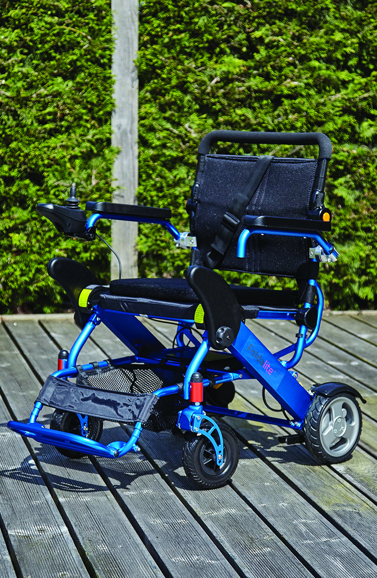 Excellent for getting around what makes the Foldalite a stand out electric wheelchair is its ability to be folded down for transport. Simple press a button and the chair will fold into a compact and easy to manage size. Due to its lightweight it is easy to pick up and store in the boot of a car.