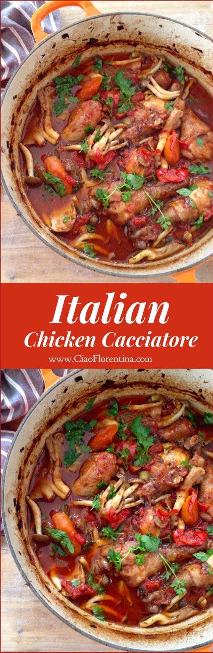 Italian Chicken Cacciatore Recipe ( Hunter Style Stew ) | http://CiaoFlorentina.com @CiaoFlorentina