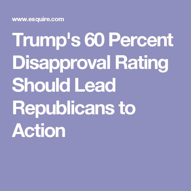 Trump's 60 Percent Disapproval Rating Should Lead Republicans to Action