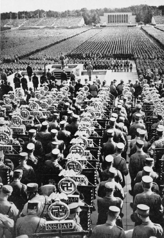 Adolf Hitler addresses the Nuremberg Rally; Adolf Hitler (989 Apr20 - 1945 Apr30, @56)