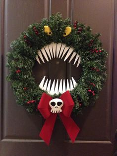 nightmare before christmas wreath google search more - Halloween Christmas Decorations
