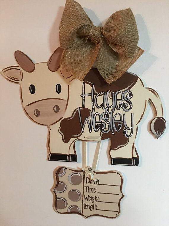 Baby Cow Hospital Door Hanger Wooden by SimplerDesignsbyKeli