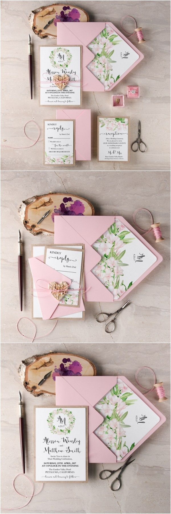 rustic wianek pink botanical spring summer wedding invitations / http://www.deerpearlflowers.com/rustic-wedding-guest-books-botanical-wedding-invitations/