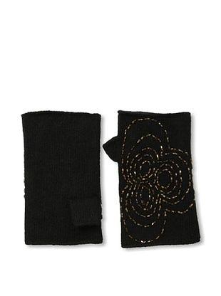 Portolano Women's Cashmere Handwarmers (Black/Bronze Beads)