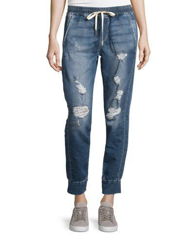 JOE'S JEANS DISTRESSED DENIM JOGGER PANTS, RUBINA BLUE. #joesjeans #cloth #