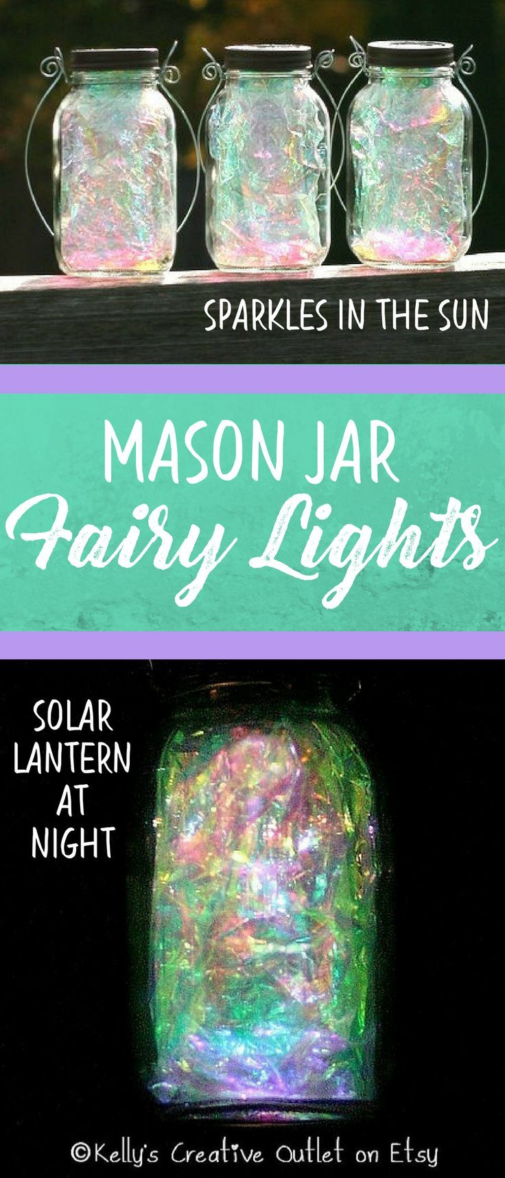 I love these super sparkly mason jars!  They look like fairies dancing in the light.  During the day they catch the sun, and at night they're a solar powered garden lantern.  Such a great idea for a pathway.  #affiliate