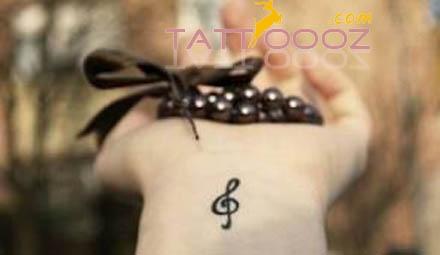 Treble Clef Wrist Tattoo:)