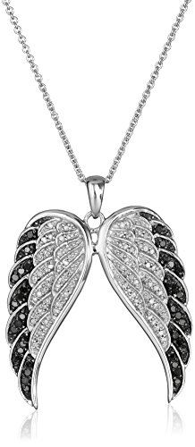 Sterling Silver Black and White Diamond Angel Wings Pendant Necklace (1/2 cttw, I-J Color, I2-I3 Clarity), 18″	by Amazon Collection - See more at: http://blackdiamondgemstone.com/jewelry/necklaces/pendants/sterling-silver-black-and-white-diamond-angel-wings-pendant-necklace-12-cttw-ij-color-i2i3-clarity-18-com/#sthash.Ku5PHfkJ.dpuf