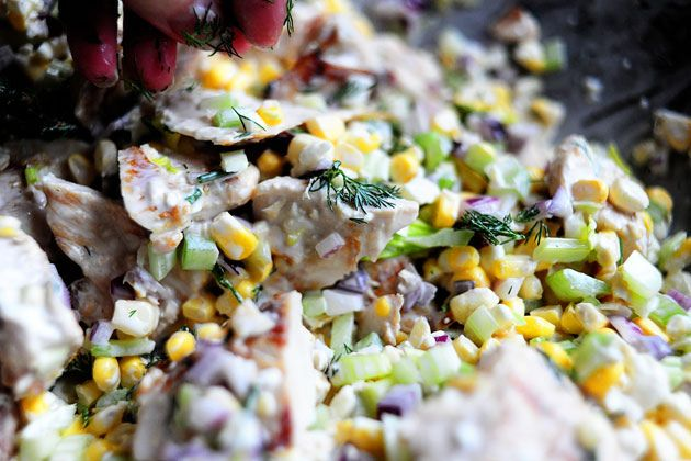 Grilled Chicken Salad with Feta, Fresh Corn, and Blueberries | Recipe