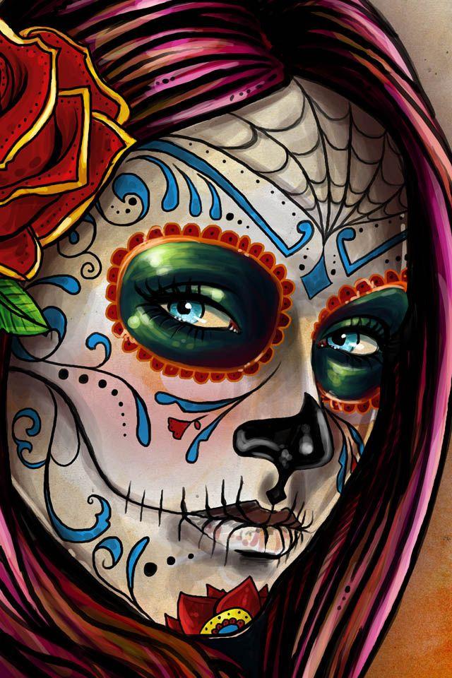 day of dead girl phone wallpaper mexican sugar skull