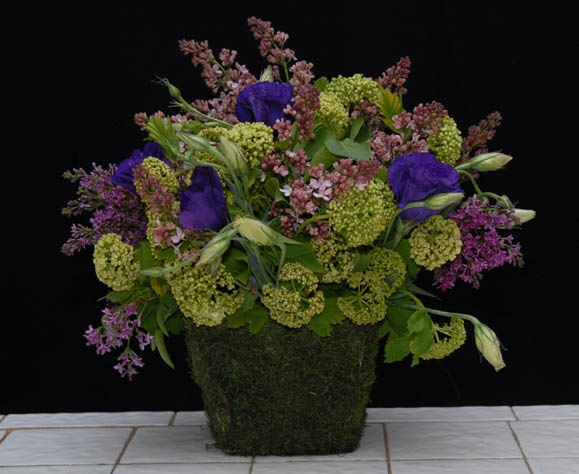 Lilacs, Viburnum and Lisianthus   From Rittners Floral School, Boston, Ma. www.floralschool.com