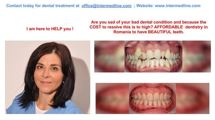 Tooth treatment and dental works in Romanian dental clinics offered by specialized dentists. Affordable dentist price list.  Visit website and contact today for your dental treatment at office@intermedline.com ; phone: +40 311.073.167/ +40 730.482.672; website:http://www.intermedline.com/dental-clinics-romania/ #dentaltourism #dentaltourisminRomania #dentist #dentistinRomania #dentalclinic #dentalclinicinRomania #dental #dentalinRomania #dentaltravel #dentaltravelinRomania