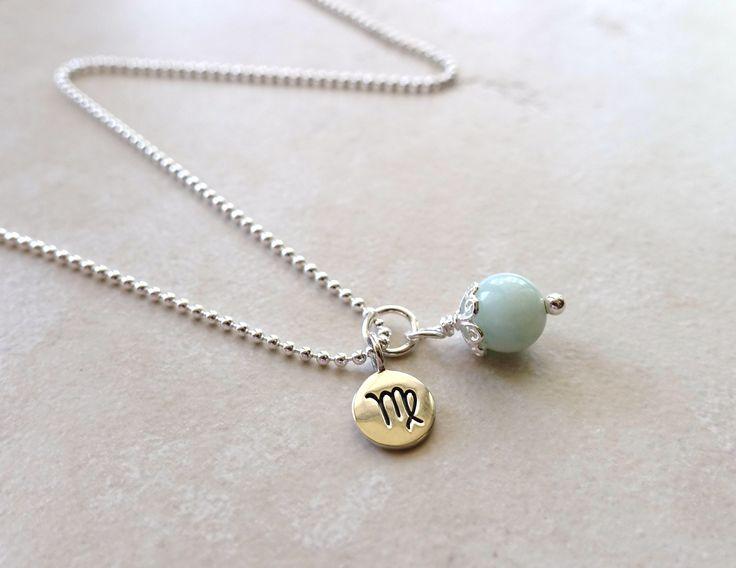 Virgo Necklace, Virgo Zodiac Necklace, Sterling Silver, Virgo Jewelry, Virgo Jewellery, Amazonite, Virgo Zodiac Jewelry by piccreations on Etsy https://www.etsy.com/listing/189470900/virgo-necklace-virgo-zodiac-necklace