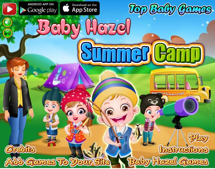 Stay in tent, feast on yummy food, go fishing and much more fun camping activities to enjoy with Baby Hazel in summer camp http://www.topbabygames.com/baby-hazel-summer-camp.html