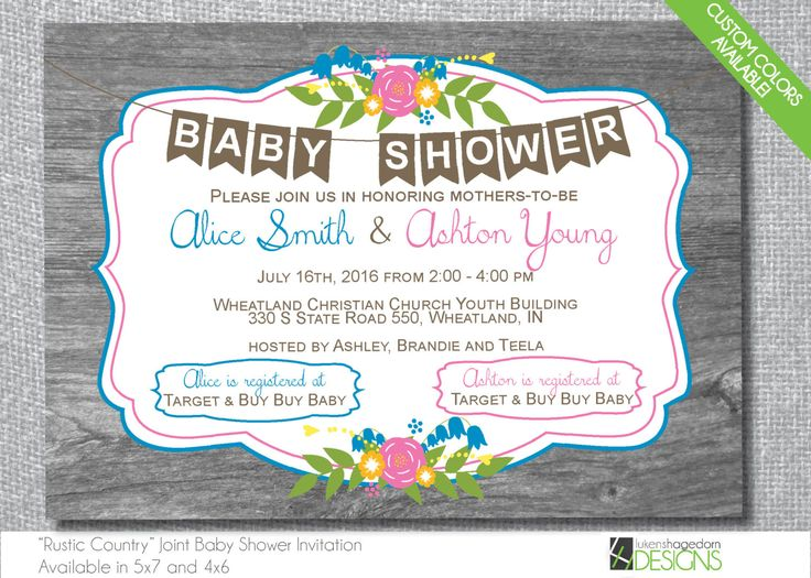Country Rustic Double Baby Shower Invitation   Custom Colors   Digital File  Onlyu2026