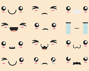 Kawaii Faces II Clip Art for Scrapbooking Card Making Cupcake