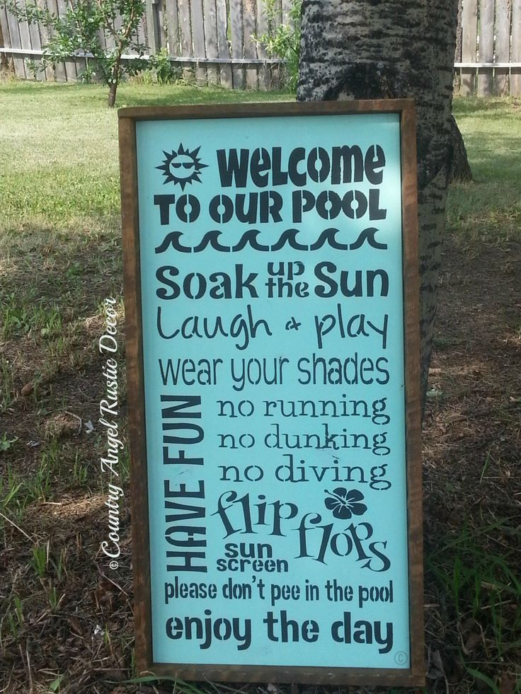 WELCOME to our POOL Rustic distressed Typography/Subway wood sign Outdoor Sign, Deck Sign, Cabin, Cottage, Backyard Sign, Swimming Pool Sign by CountryAngelRustic on Etsy https://www.etsy.com/listing/188599033/welcome-to-our-pool-rustic-distressed