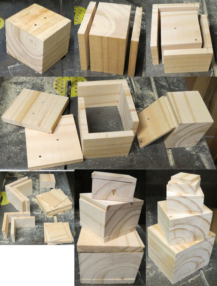 How to make a set of nesting boxes from a pallet block with a band saw
