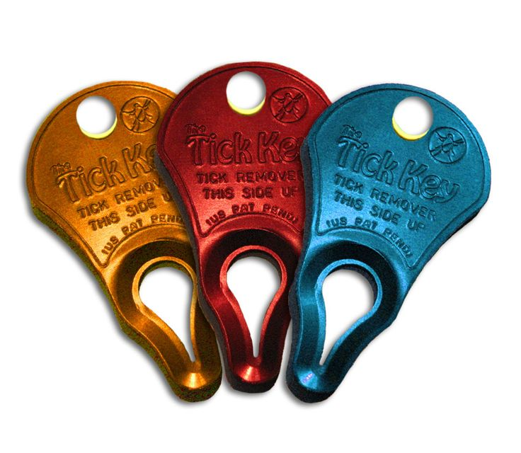 This patent pending design has been perfected and tested for over five years and is responsible for the removal of countless ticks of all sizes including deer ticks and dog ticks. Tick Key is fabricated from high-strength anodized aluminum... it is not a weak piece of plastic. The Tick Key is currently available in a 3 pack, colors: Blue, Orange and Red. The Tick Key is flat and is easily stored in a wallet, pocket, on a key chain, collar, saddle, or leash.
