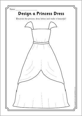 Design a princess dress worksheet (SB10670) - SparkleBox