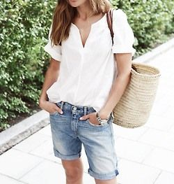 woven bag + white top + denim