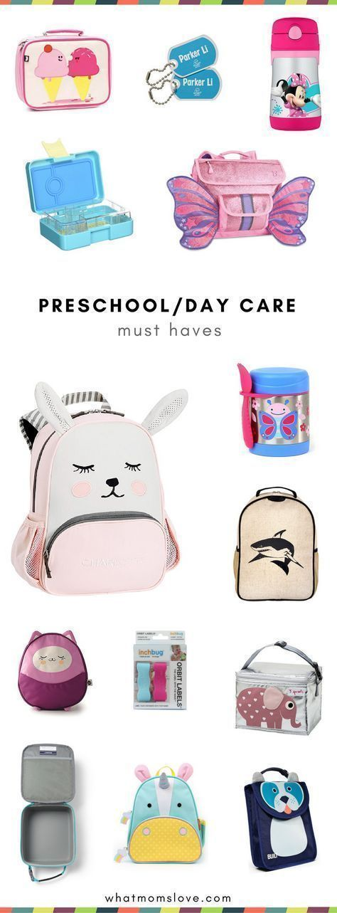The best back to school supplies for preschoolers, toddlers, kindergartners and daycare | Small backpacks, lunch bags, bento boxes, water bottles, labels and mo #daycaresupplies #backpackinglunch