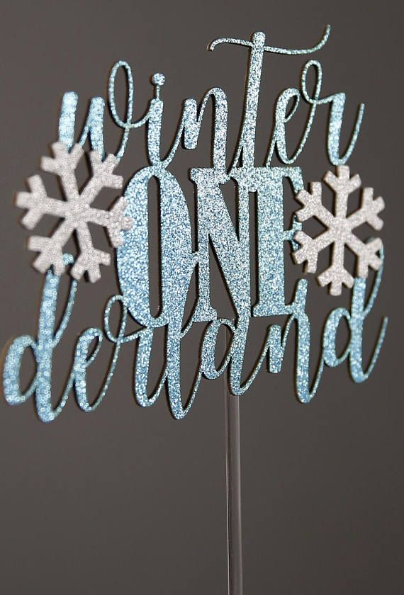 winter ONEderland cake topper, with snowflakes, winter 1st birthday, glitter party decorations
