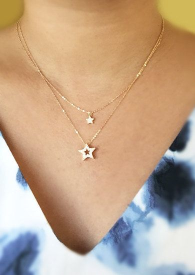 Star Necklace Mother daughter necklace cut out star by Muse411