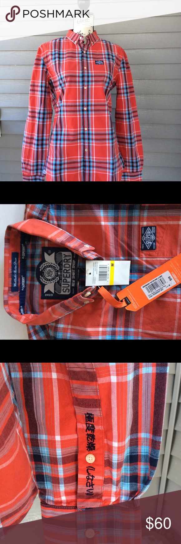 Superdry NWT men's buttondown Superdry casual button down shirt. Washable NWT. Red. 100% cotton. Soft . Men's medium.  One front chest pocket with logo. Features logo on back hook, sleeve and front. Shown on a small size mannequin. Superdry Shirts Casual Button Down Shirts