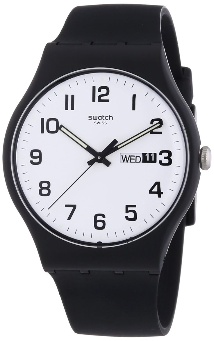 Love this watch, but expensive. Maybe after graduation.   Swatch SUOB705 Twice Again White Day Date Dial Black Silicone Unisex Watch NEW: Swatch: Watches