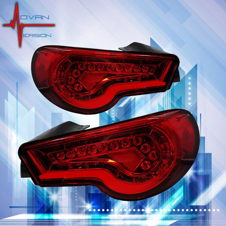 2012 2015 WINJET Scion FRS GT 86 LED Tail Lights Chrome Red JDM Rear Lamps  PAIR