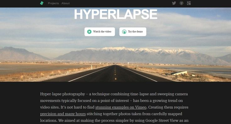 http://labs.teehanlax.com/project/hyperlapse  Hyper-lapse photography by using Google Street View