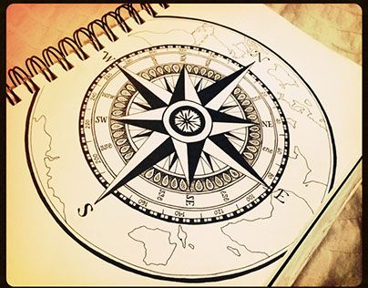 Ink Compass drawing by Marsha McMullin  My Fine Art
