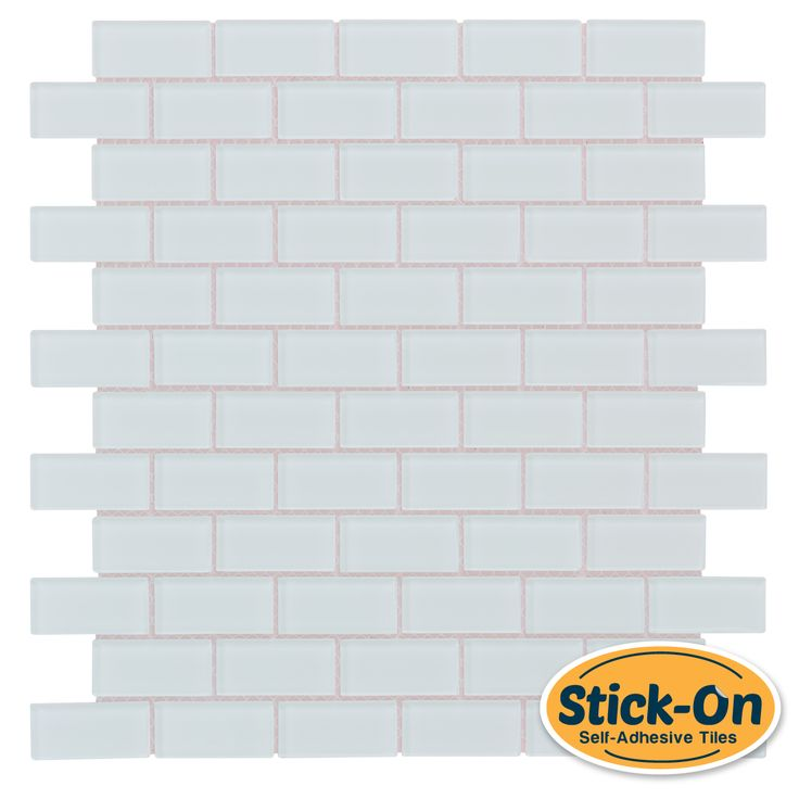 Peel and stick subway glass mosaic tile white for Self adhesive subway tile backsplash
