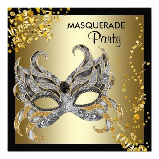 Confetti Mask Black Gold Masquerade Party Personalized Announcement