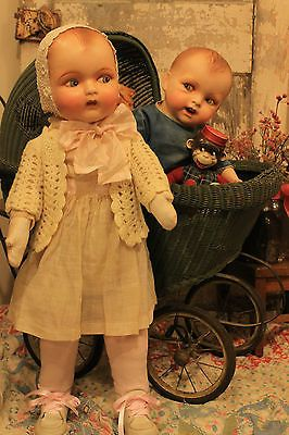 """Big 26"""" Baby Girl Doll, composition and cloth, old vintage, antique"""