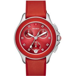 Women's Michele 'Cape' Chronograph Silicone Strap Watch, 34Mm