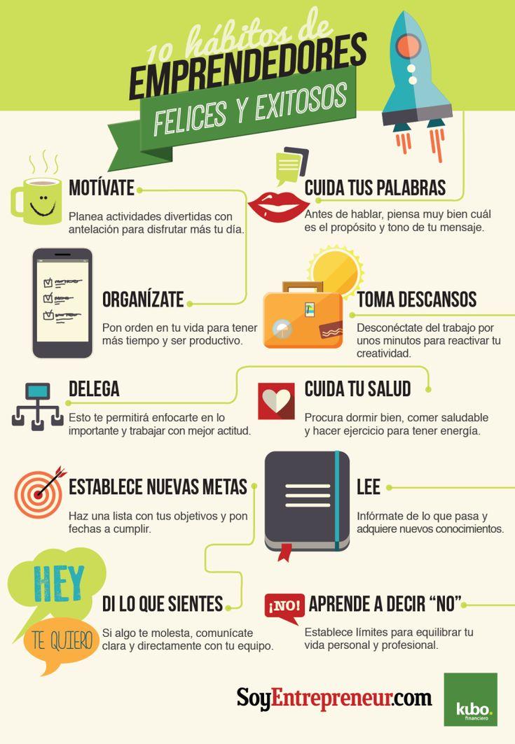 10 hábitos de los emprendedores felices y exitosos #infografia #infographic #entrepreneurship