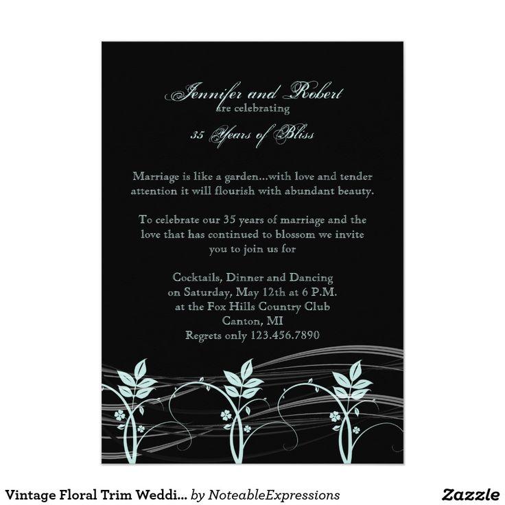 Vintage Floral Trim Wedding Anniversary Card The