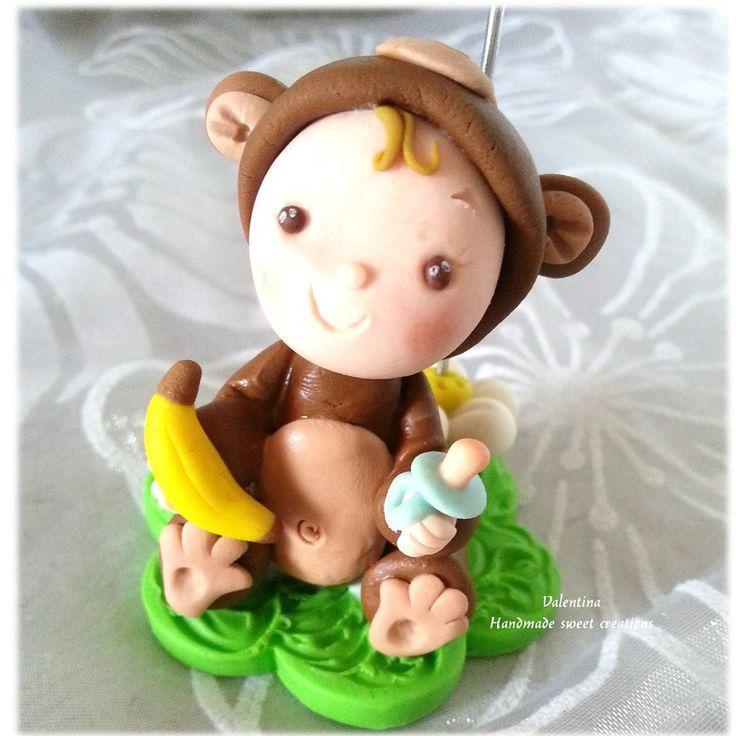 Bomboniera portafoto nascita Battesimo scimmietta animale, by Valentina Handmadesweetcreations, 10,00 € su misshobby.com