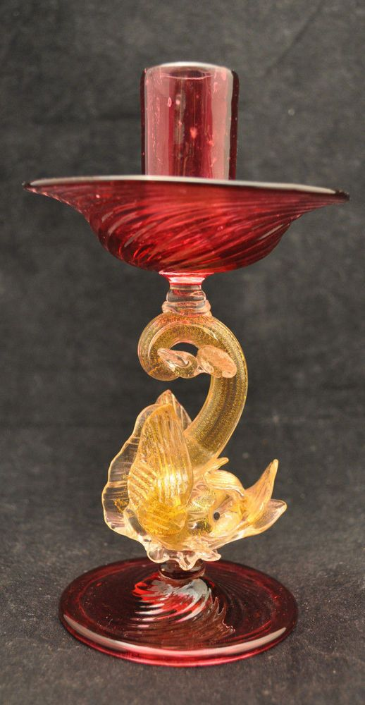 VTG Venetian Murano Art Glass Candlestick Holder Dolphin or Dragon w Aventurine