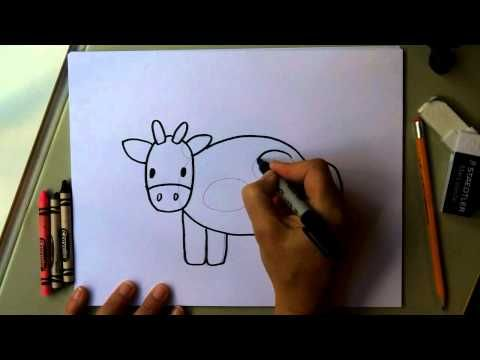 ▶ How to Draw a Cow - Easy Drawing Tutorial! Fun for kids! moo!! - YouTube
