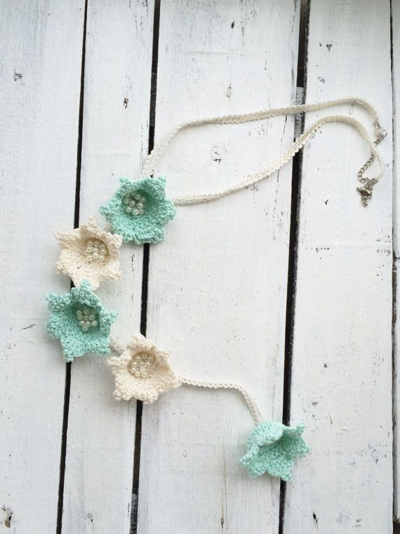 Mint and Cream Lilies Crochet Necklace Lariat by ReddApple on Etsy, $32.00