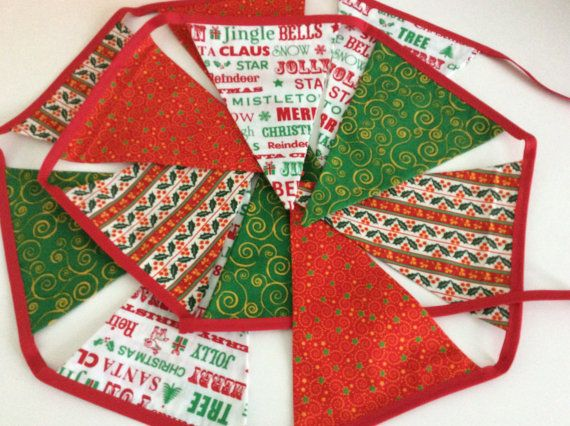 Traditional Christmas Bunting 12 flag Fabric Garland by Melsey