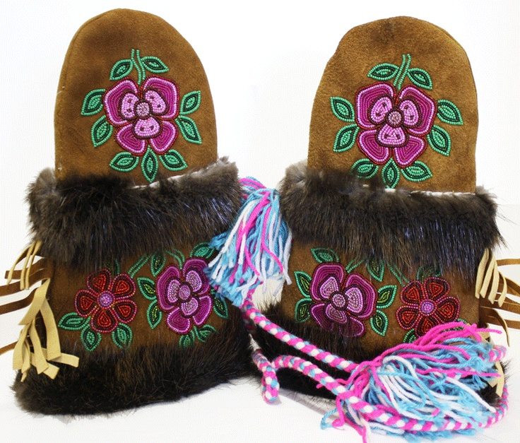 Beaded Moose hide mittens.